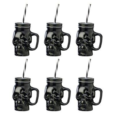 Skull 16 oz. Mason Jar Color: Black THDA1738 41572188