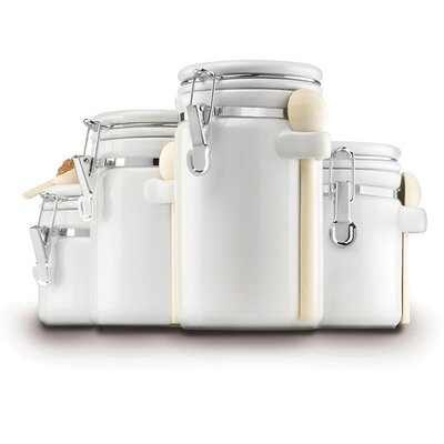 Anchor Hocking Ceramic 4 Piece Kitchen Canister Set 03806WMR
