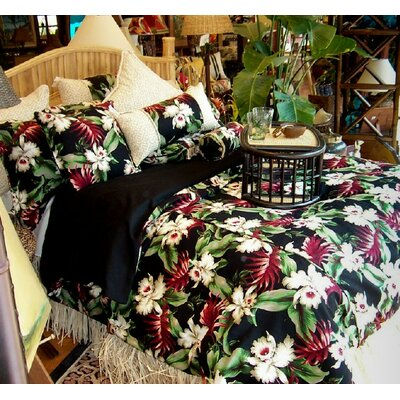 Orchids Comforter Size: Queen, Color: Black