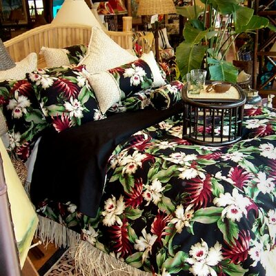 Orchids Hawaiian Duvet Cover Size: Queen
