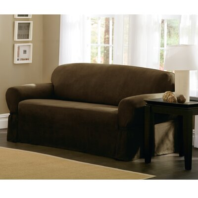 Box Cushion Loveseat Slipcover Size: 34 H x 96 W x 36 D, Upholstery: Chocolate
