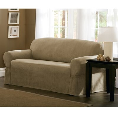 Box Cushion Loveseat Slipcover Size: 34 H x 73 W x 36 D, Upholstery: Tan