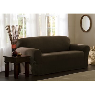 Reeves Stretch Box Cushion Loveseat Slipcover Upholstery: Chocolate