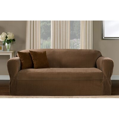 One Piece Box Cushion Sofa Slipcover Upholstery: Mocha