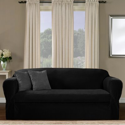 Separate Seat Box Cushion Sofa Slipcover Upholstery: Black