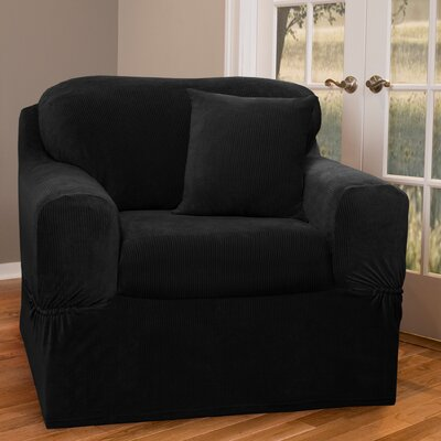 Collin Stretch Separate Seat Armchair Slipcover Upholstery: Black