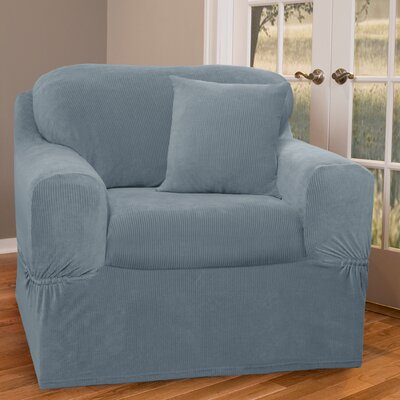 Collin Stretch Separate Seat Armchair Slipcover Upholstery: Blue
