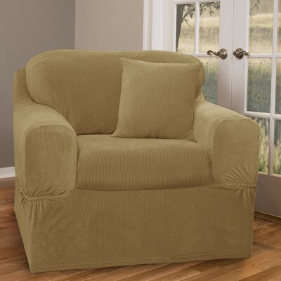 Collin Stretch Separate Seat Armchair Slipcover Upholstery: Gold