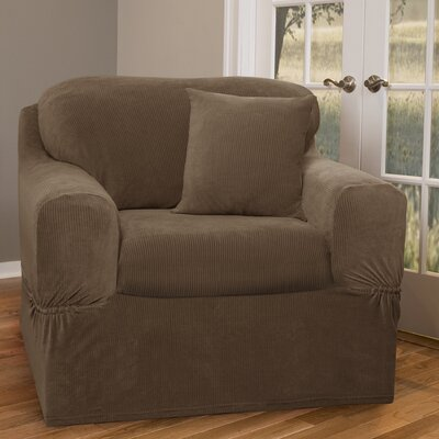 Collin Stretch Separate Seat Armchair Slipcover Upholstery: Mocha
