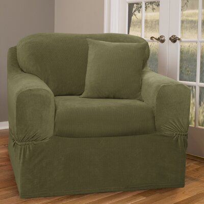 Separate Seat Armchair Slipcover Upholstery: Moss