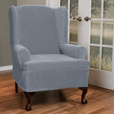 T-Cushion Wing Chair Slipcover Upholstery: Blue