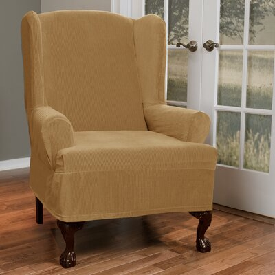 Collin Stretch T-Cushion Wing Chair Slipcover Upholstery: Gold