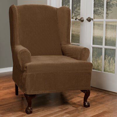 T-Cushion Wing Chair Slipcover Upholstery: Mocha