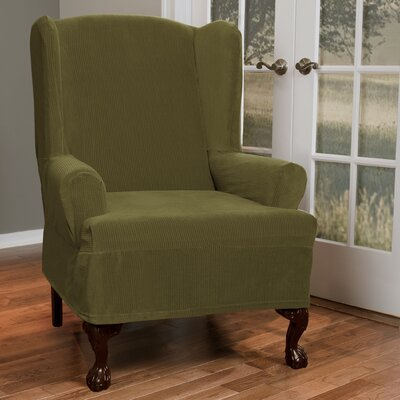 Collin Stretch T-Cushion Wing Chair Slipcover Upholstery: Moss