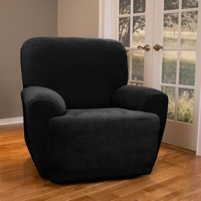 Collin Stretch Seperate Seat Recliner Slipcover Upholstery: Black