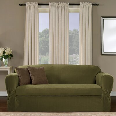 Separate Seat Box Cushion Loveseat Slipcover Upholstery: Moss