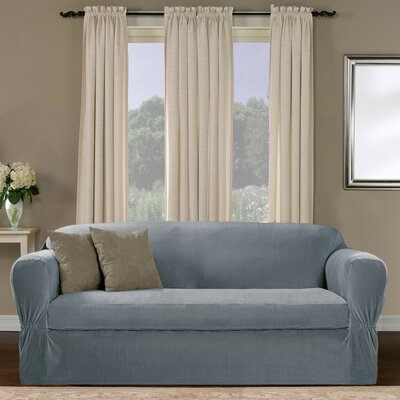 Collin Stretch Separate Seat Loveseat Slipcover Upholstery: Blue
