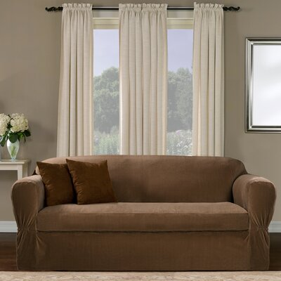 Separate Seat Box Cushion Loveseat Slipcover Upholstery: Mocha