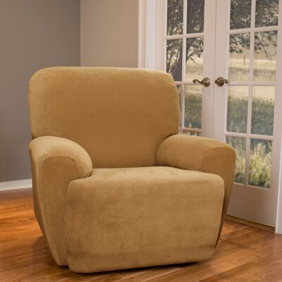 Collin Stretch Seperate Seat Recliner Slipcover Upholstery: Gold