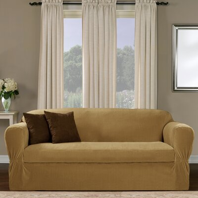 Separate Seat Box Cushion Sofa Slipcover Upholstery: Gold