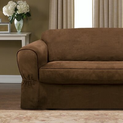 Bearup Barras Box Cushion Loveseat Slipcover Upholstery: Chocolate