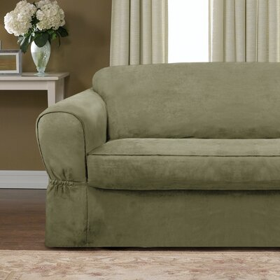 Bearup Barras Box Cushion Loveseat Slipcover Upholstery: Sage