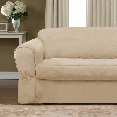 Bearup Barras Box Cushion Loveseat Slipcover Upholstery: Sand