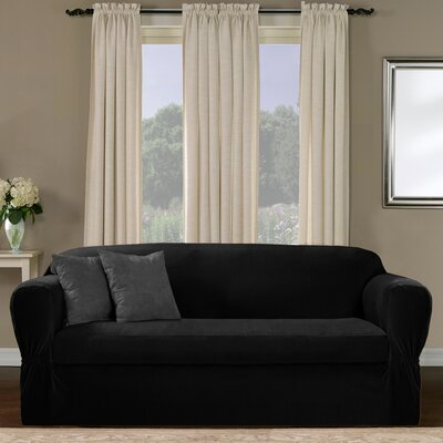 Collin Stretch Separate Seat Loveseat Slipcover Upholstery: Black