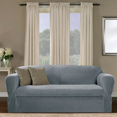 Separate Seat Box Cushion Sofa Slipcover Upholstery: Blue