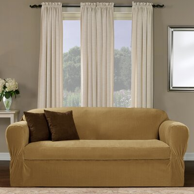 Separate Seat Box Cushion Loveseat Slipcover Upholstery: Gold