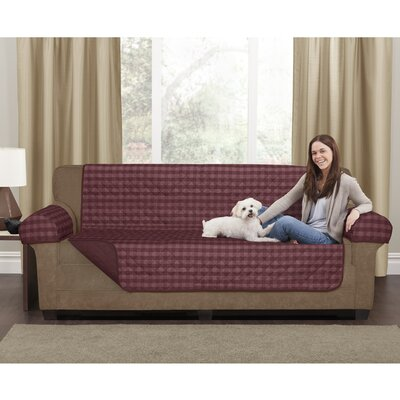 Buffalo Check Box Cushion Loveseat Slipcover Upholstery: Burgundy