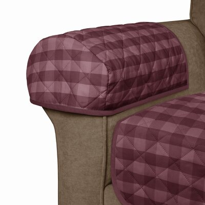 Buffalo Check Reversible Polyester Loveseat Slipcover Upholstery: Burgundy