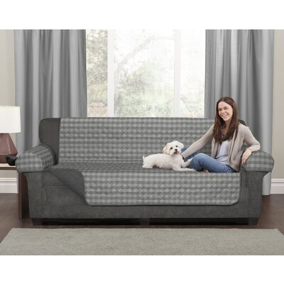 Buffalo Check Box Cushion Loveseat Slipcover Set Upholstery: Gray