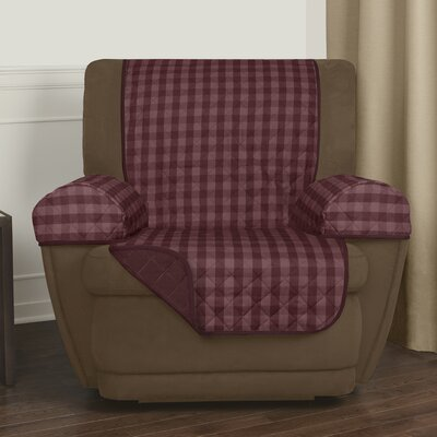 Buffalo Check T-Cushion Recliner Slipcover Upholstery: Burgundy