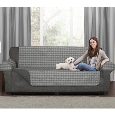 Buffalo Check Reversible Polyester Loveseat Slipcover Upholstery: Gray