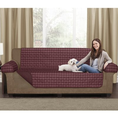 Buffalo Check 3 Piece Reversible Polyester Sofa Slipcover Set Upholstery: Burgundy