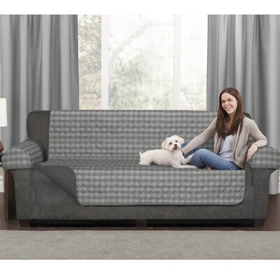Buffalo Check 3 Piece Reversible Polyester Sofa Slipcover Set Upholstery: Gray