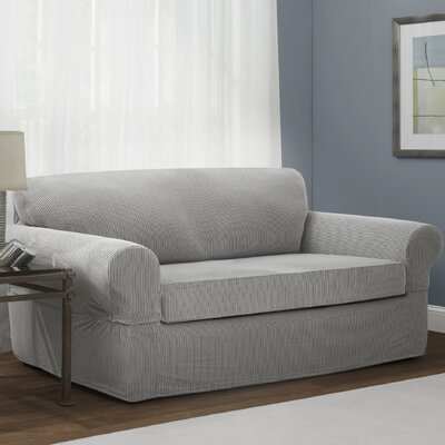 Connor 2 Piece Stretch Polyester Sofa Slipcover Set Upholstery: Gray