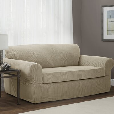 Connor 2 Piece Stretch Polyester Sofa Slipcover Set Upholstery: Sand
