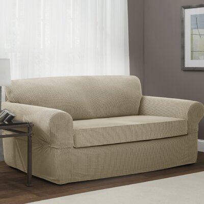 Connor Stretch Polyester Loveseat Slipcover Upholstery: Sand