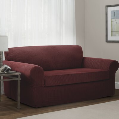 Connor Box Cushion Sofa Slipcover Upholstery: Red