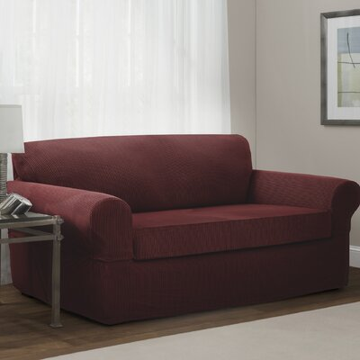 Connor Stretch Box Cushion Loveseat Slipcover Upholstery: Red