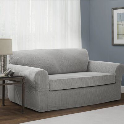 Connor Stretch Polyester Loveseat Slipcover Upholstery: Gray