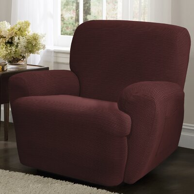 Connor 4 Piece Stretch Polyester Recliner Slipcover Set Upholstery: Red