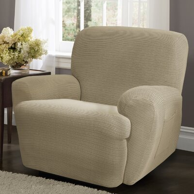 Connor 4 Piece Stretch Polyester Recliner Slipcover Set Upholstery: Sand
