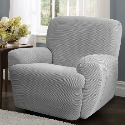 Connor 4 Piece Stretch Polyester Recliner Slipcover Set Upholstery: Gray