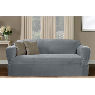 Collin Stretch One Piece Sofa Slipcover Upholstery: Blue Smoke