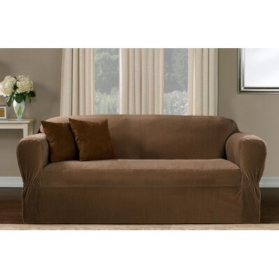 Collin Stretch One Piece Loveseat Slipcover Upholstery: Mocha