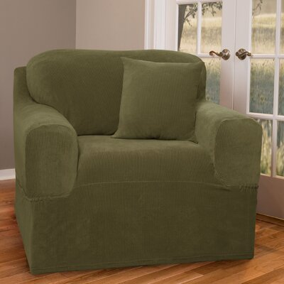 One Piece Armchair Slipcover Upholstery: Moss Green