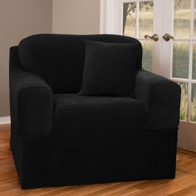 Collin Stretch One Piece Armchair Slipcover Upholstery: Black